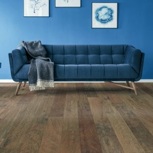 Blue couch on Hardwood floor | Georgia Flooring