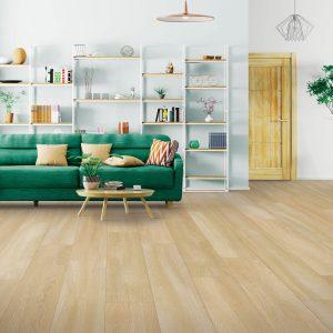 Green sofa on Laminate floor | Georgia Flooring