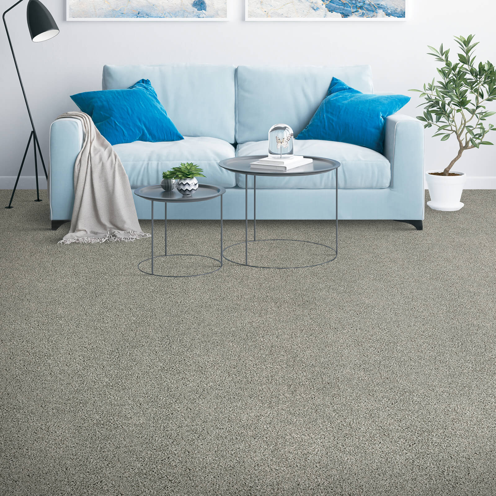 Couch on grey Carpet | Georgia Flooring